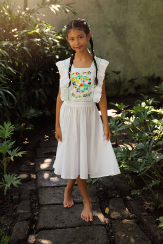Flora Dress White with Hand Stitch