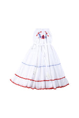 rose dress white with blue and red hand stitch