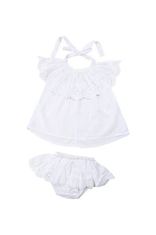 camille sunsuit white with hand stitch
