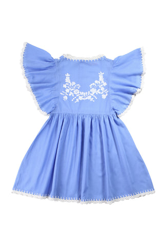 joni dress periwinkle with cream