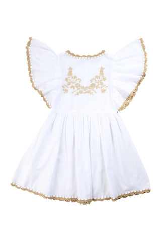 joni dress white with gold