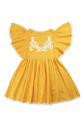 joni dress saffron with cream