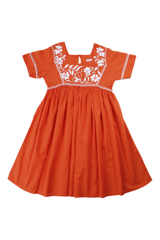 mimi dress tangerine with white
