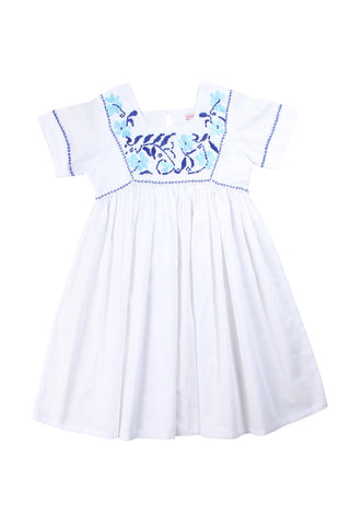 mimi dress white with blue