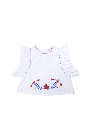 delphine blouse white with red and blue