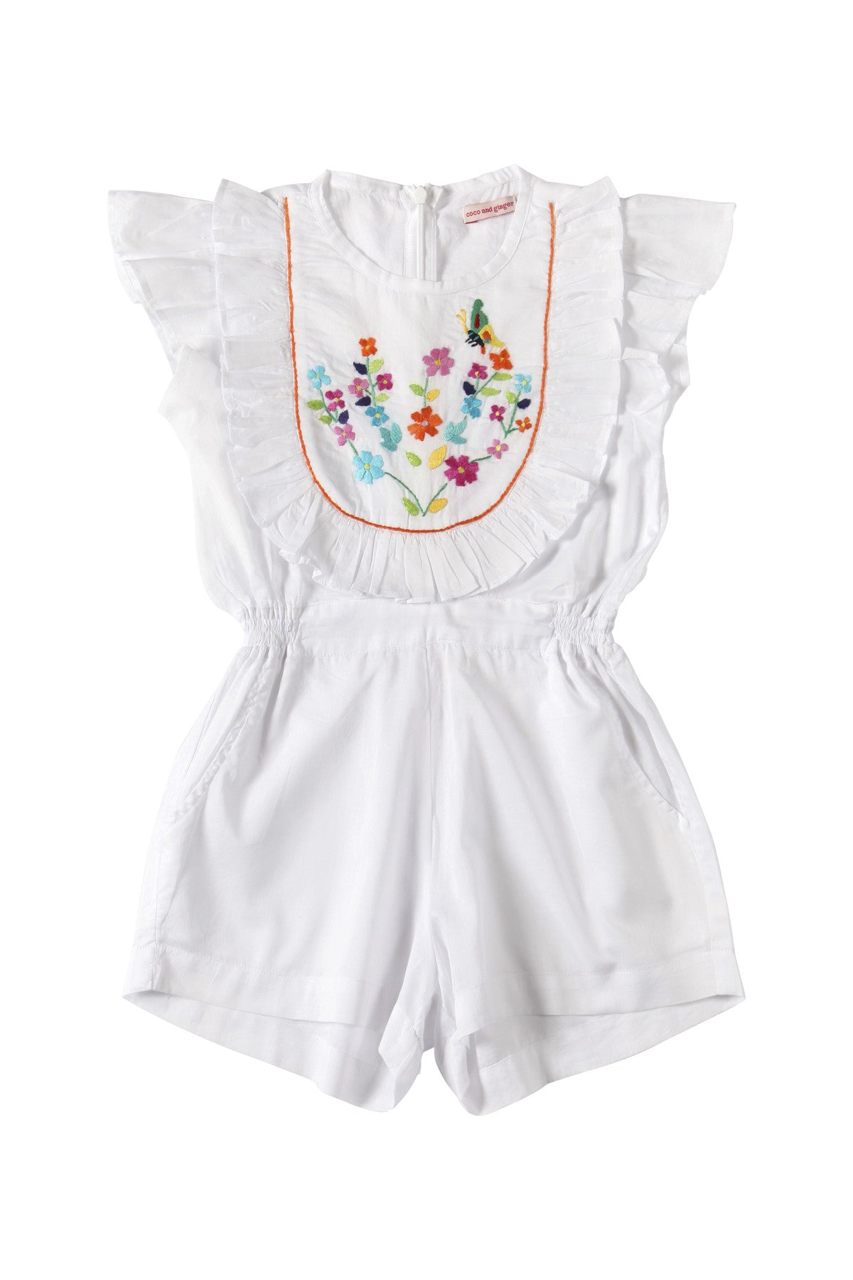 Peony Playsuit White with Handstitch