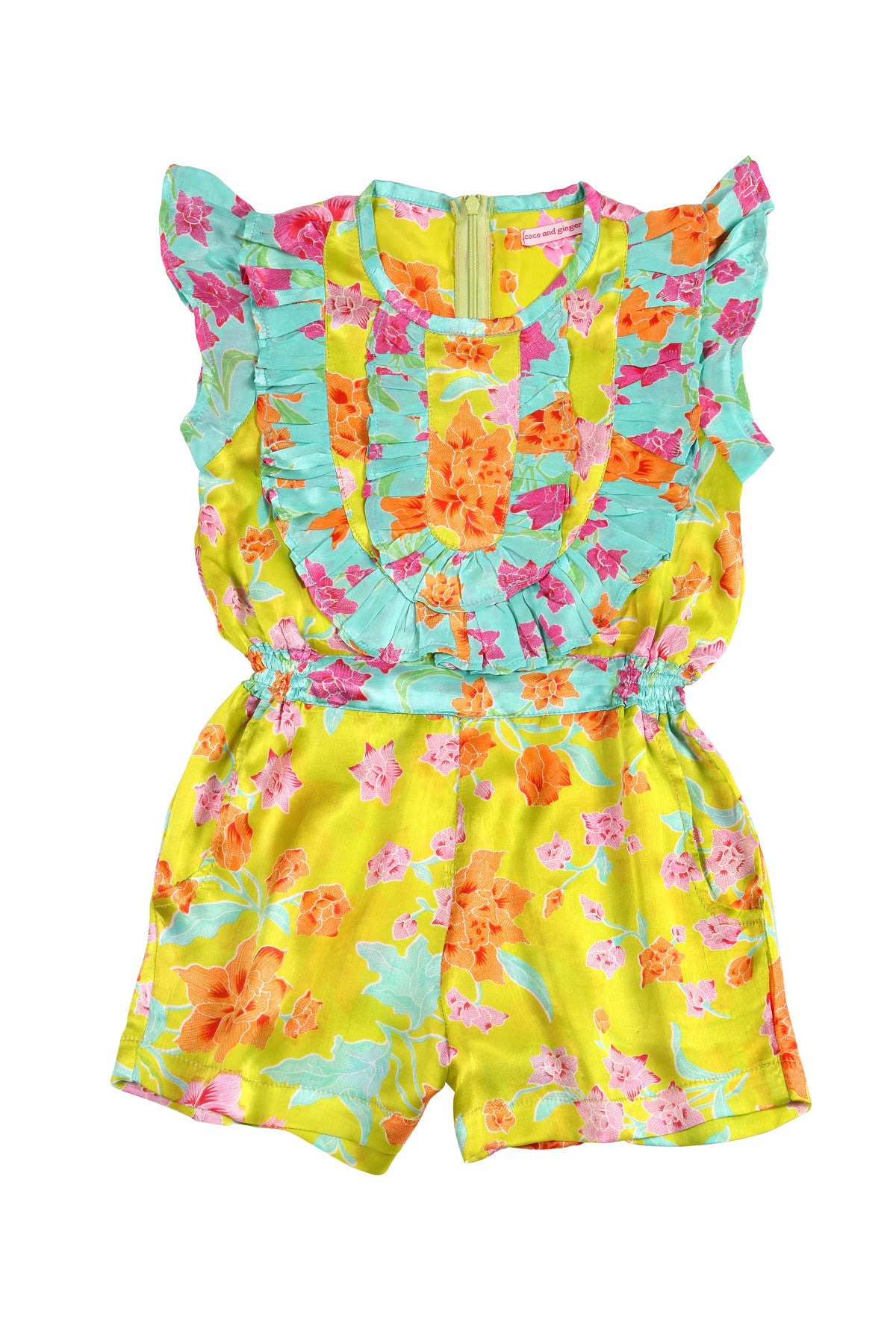 Peony Playsuit Lime and Jade