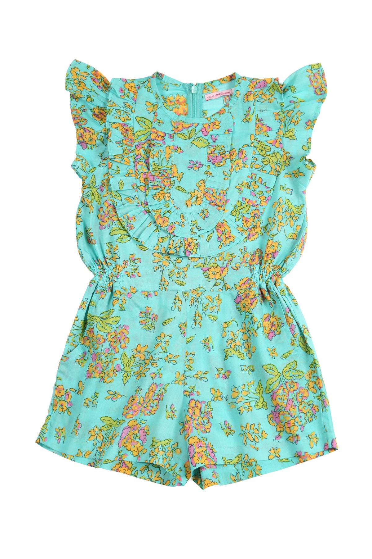 Peony Playsuit Aqua Greek Meadow