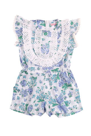 Peony Playsuit Blue Greek Meadow with Lace