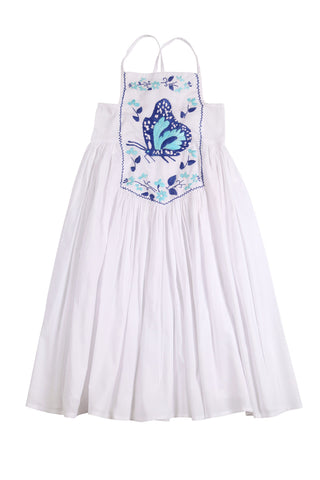 Lilac Dress White with Blue Hand Stitch