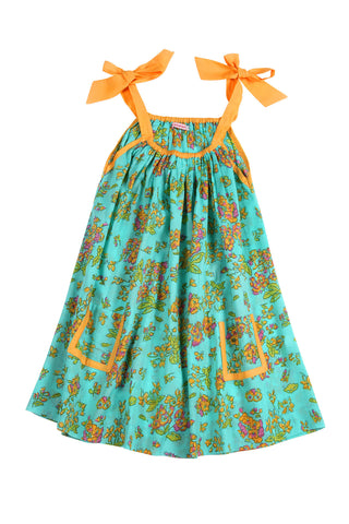 Giselle Dress Aqua Greek Meadow