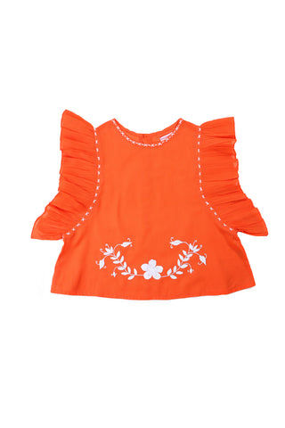 kitty top coral with hand stitch