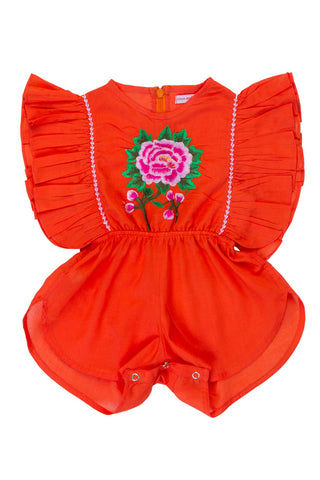 delphine sunsuit paprika rose embroidery
