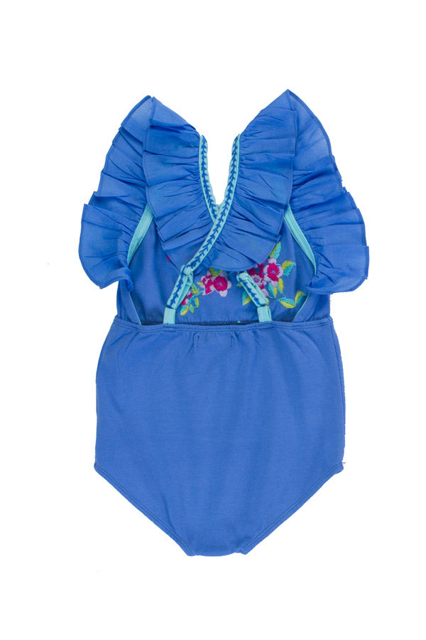 fawn leotard periwinkle/ sea glass with hand stitch