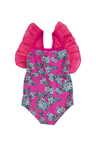 magnolia playsuit cerise with hand stitch