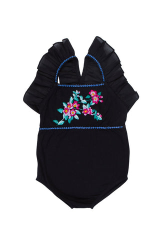 Fawn leotard black with rose embroidery (Stealing Beauty/Tween)