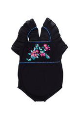 fawn leotard black with rose embroidery (teen)