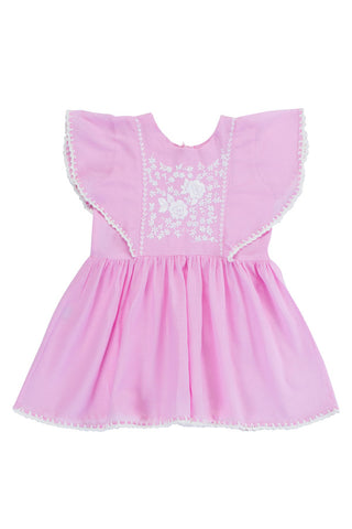 garnett dress rose with crochet and hand stitch
