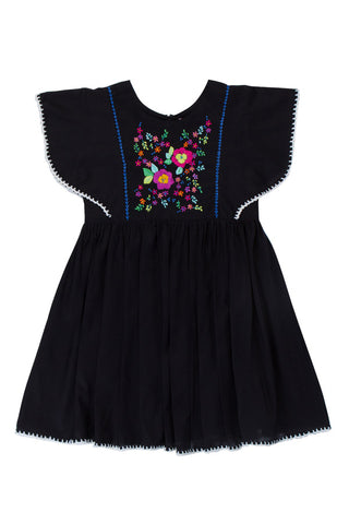 Garnett Dress Black with Crochet and Hand Stitch (Stealing Beauty/Tween)