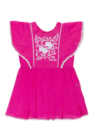 garnett dress cerise with hand stitch