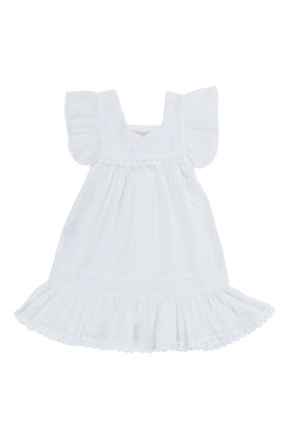 iris dress eggshell with  hand stitch