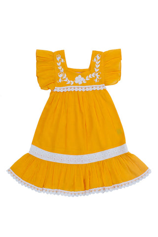 iris dress saffron with hand stitch