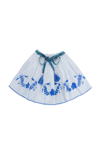 kahlo skirt eggshell with periwinkle hand stitch
