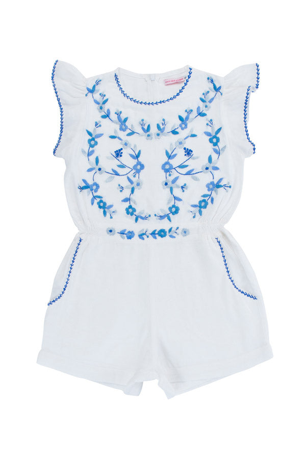 magnolia playsuit eggshell with blue hand stitch