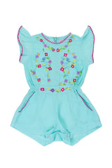 magnolia sunsuit sea glass with colour hand stitch