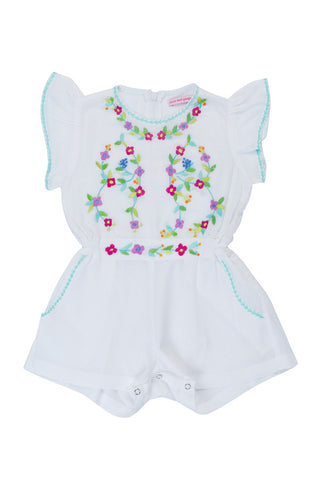 magnolia sunsuit eggshell with colour hand stitch