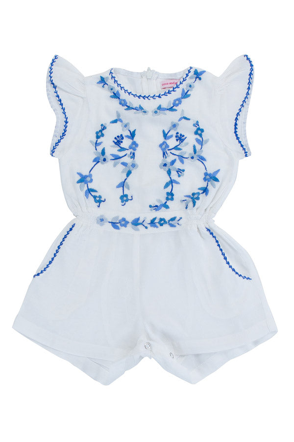 magnolia sunsuit eggshell with blue hand stitch