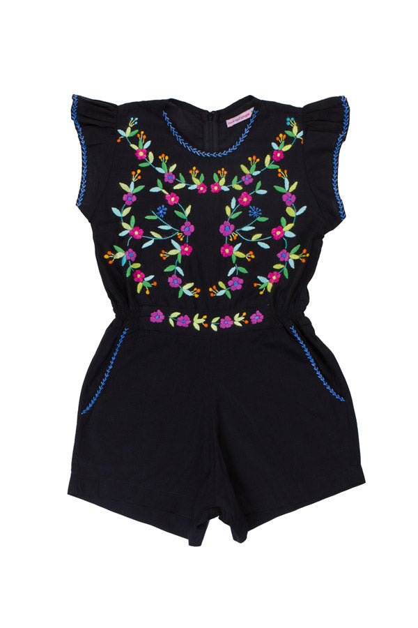 magnolia playsuit black with hand stitch