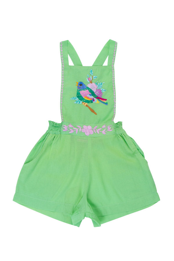 pomme playsuit apple with bird hand stitch