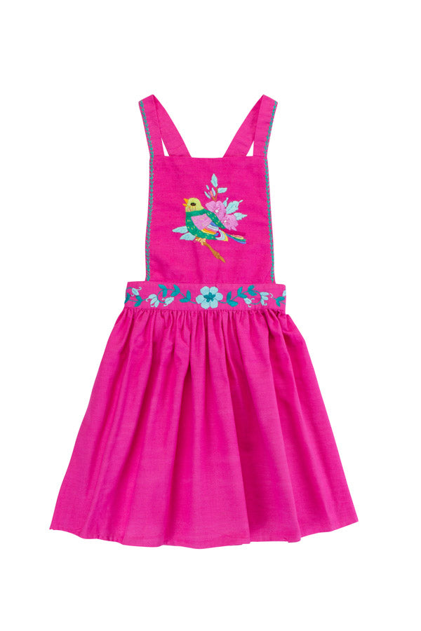 pomme pinafore cerise with hand stitch