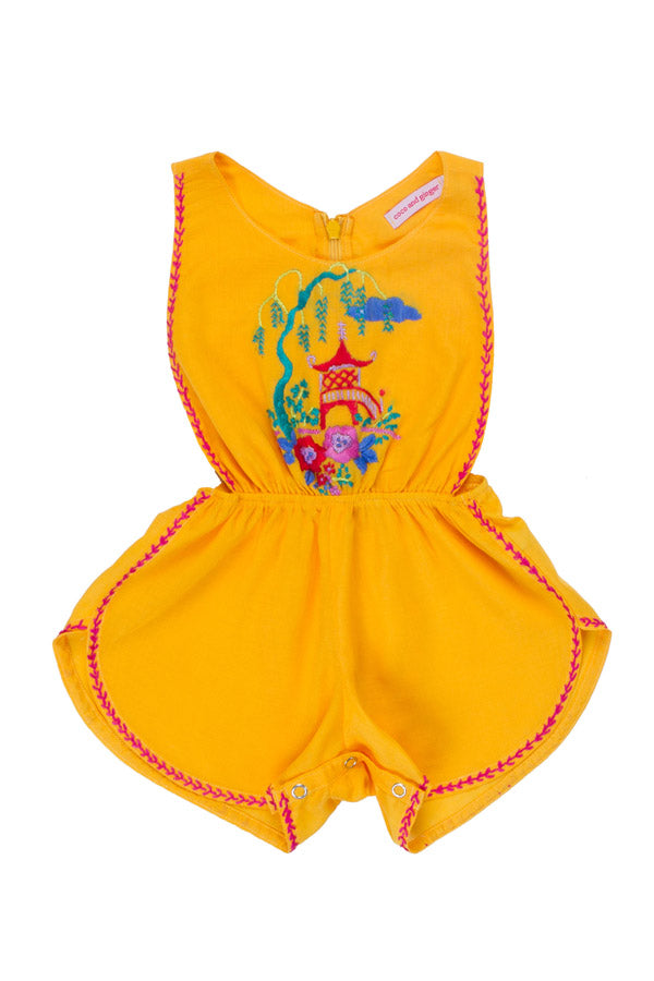 poet sunsuit saffron with hand stitch pagoda