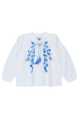 sonnet blouse eggshell with periwinkle hand stitch