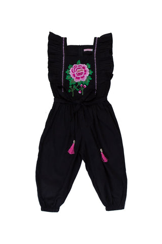 wilde jumpsuit black with rose embroidery (Stealing Beauty)