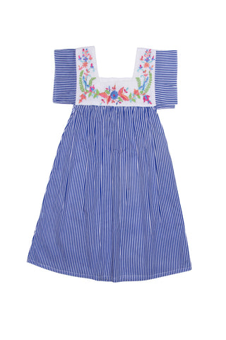 Allegra Dress Azure Stripe with Hand Stitch