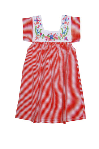 Allegra Dresss Paprika Stripe w/ Hand Stitch (Limited Edition)