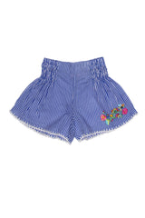 Bluebell Shorts Stripe with crochet, Hand Stitch