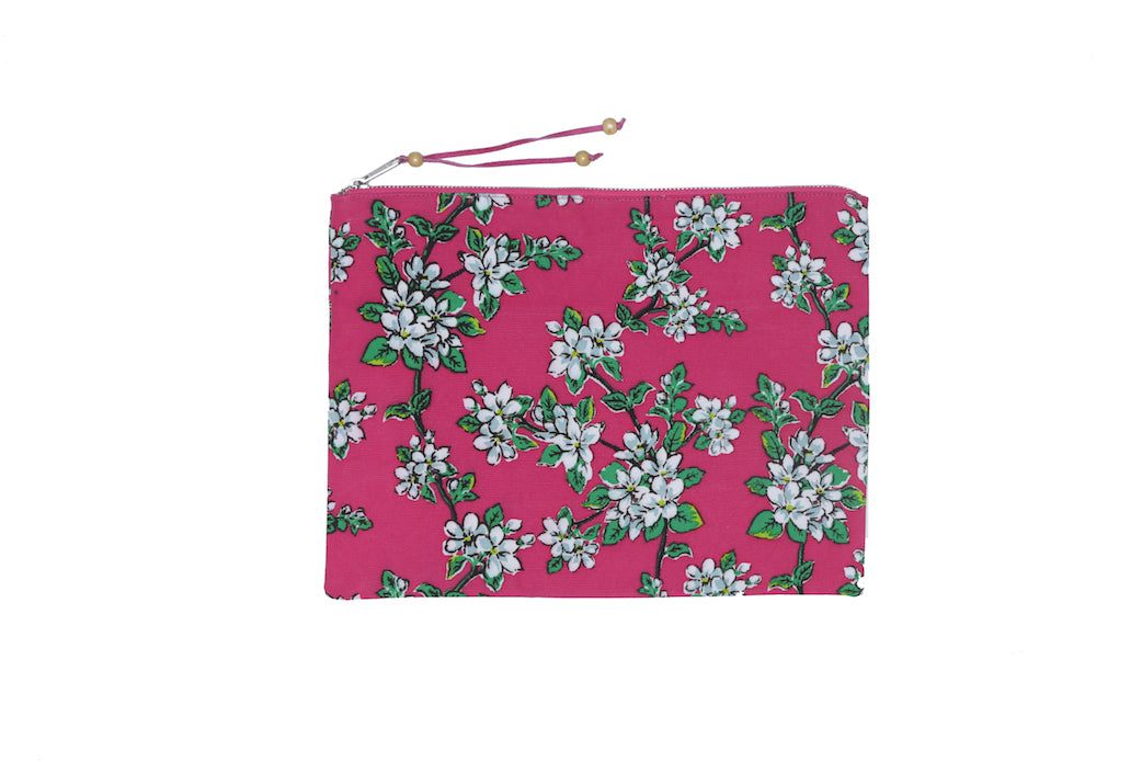 Beach Clutch - Cerise Almond Blossom