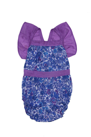 Camille Sunsuit Sapphire with Wattle Embroidery