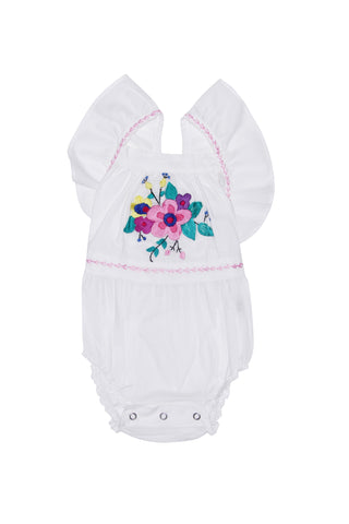 Camille Sunsuit Eggshell with Hand Stitch