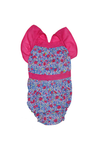 Camille Sunsuit Azure meadow with Cerise