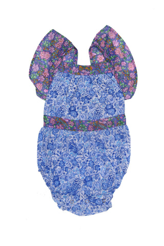 Sadie Sunsuit Lapis with Embroidery