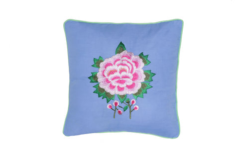 Cushion Cover  45 x 45 - Periwinkle with Rose Handstitch