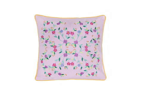 Cushion Cover  45 x 45 - Cerise with Rose Embroidery