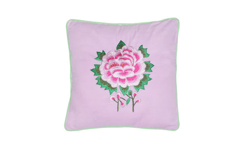 Cushion Cover  45 x 45 - Pink with Rose Embroidery