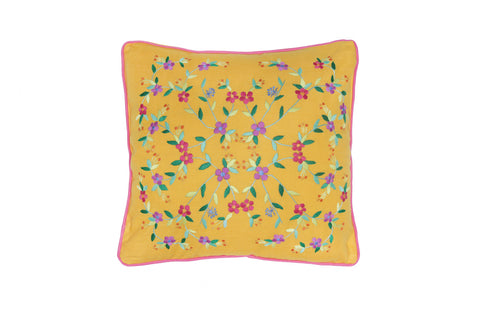 Cushion Cover  45 x 45 - Saffron with Magnolia Hand stitch