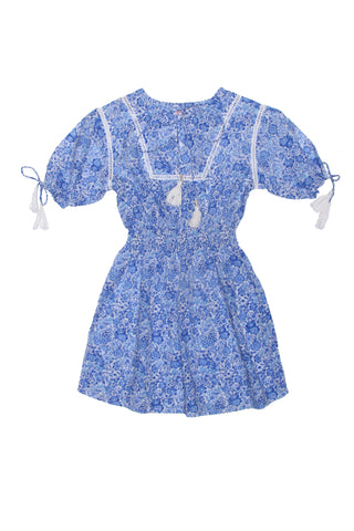 Tulip Playsuit Blue Patchwork Batik
